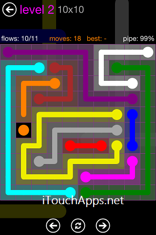 Flow Purple Pack 10 x 10 Level 2 Solution