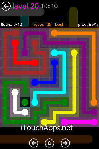 Flow Purple Pack 10 x 10 Level 20 Solution