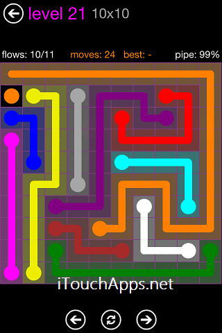 Flow Purple Pack 10 x 10 Level 21 Solution