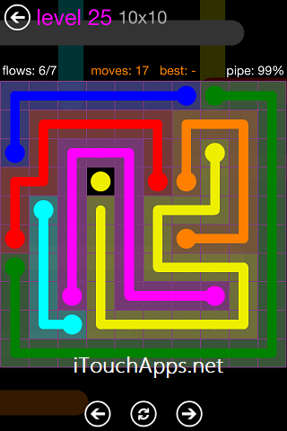 Flow Purple Pack 10 x 10 Level 25 Solution