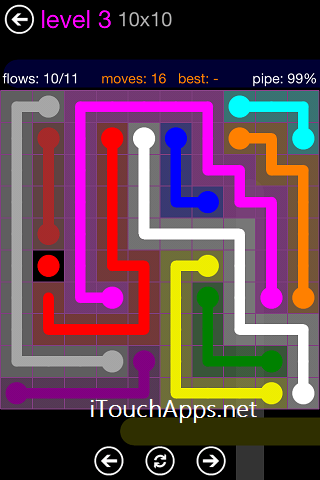 Flow Purple Pack 10 x 10 Level 3 Solution