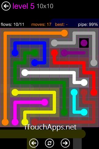 Flow Purple Pack 10 x 10 Level 5 Solution