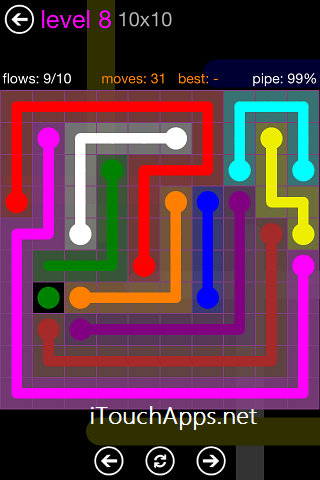 Flow Purple Pack 10 x 10 Level 8 Solution