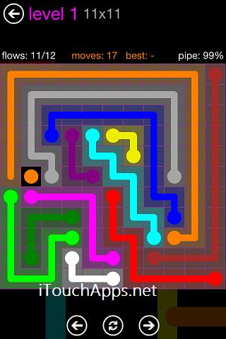 Flow Purple Pack 11 x 11 Level 1 Solution