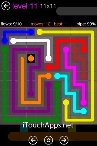 Flow Purple Pack 11 x 11 Level 11 Solution