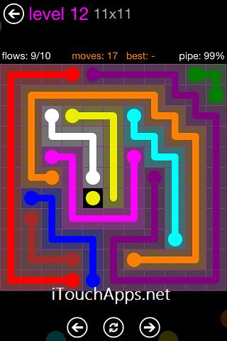 Flow Purple Pack 11 x 11 Level 12 Solution