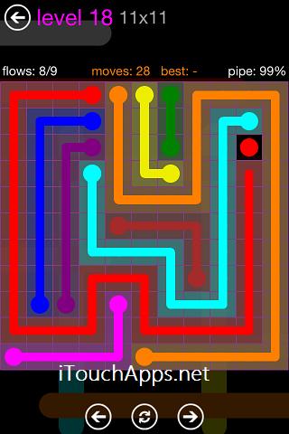 Flow Purple Pack 11 x 11 Level 18 Solution