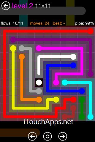 Flow Purple Pack 11 x 11 Level 2 Solution