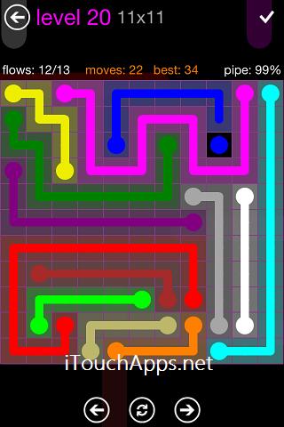 Flow Purple Pack 11 x 11 Level 20 Solution