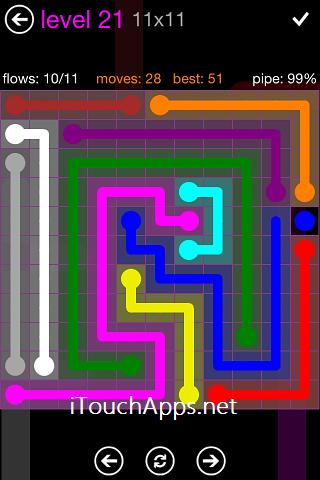 Flow Purple Pack 11 x 11 Level 21 Solution