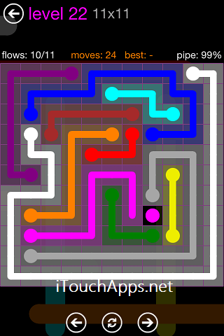 Flow Purple Pack 11 x 11 Level 22 Solution