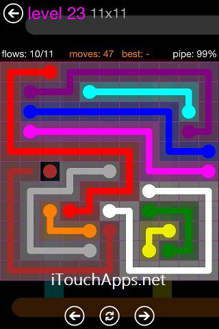 Flow Purple Pack 11 x 11 Level 23 Solution