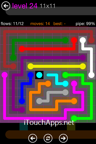 Flow Purple Pack 11 x 11 Level 24 Solution