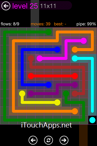 Flow Purple Pack 11 x 11 Level 25 Solution