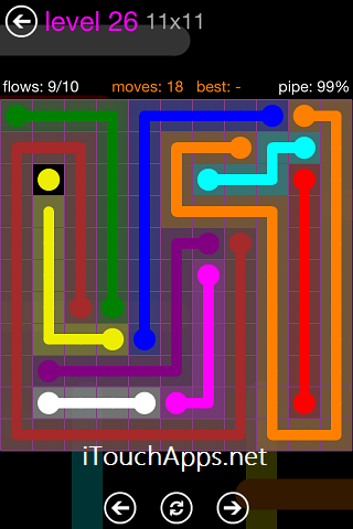 Flow Purple Pack 11 x 11 Level 26 Solution