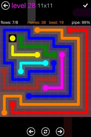 Flow Purple Pack 11 x 11 Level 28 Solution