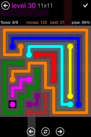 Flow Purple Pack 11 x 11 Level 30 Solution