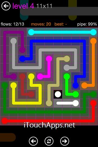 Flow Purple Pack 11 x 11 Level 4 Solution