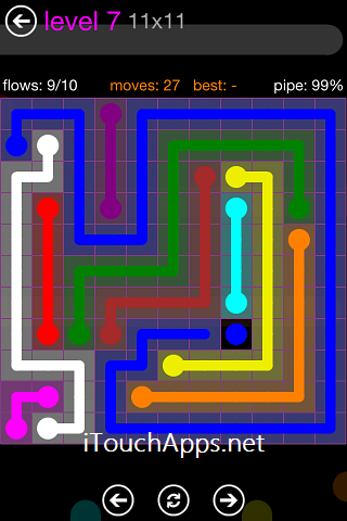 Flow Purple Pack 11 x 11 Level 7 Solution