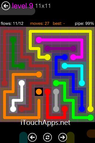 Flow Purple Pack 11 x 11 Level 9 Solution