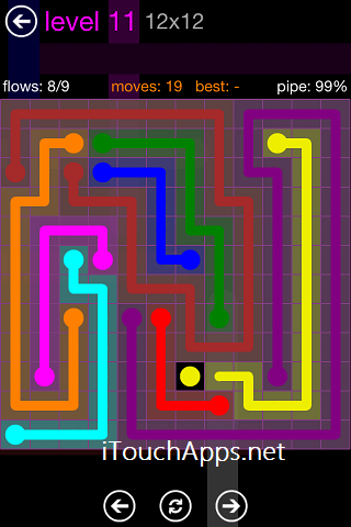 Flow Purple Pack 12 x 12 Level 11 Solution