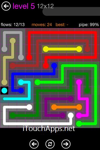 Flow Purple Pack 12 x 12 Level 5 Solution