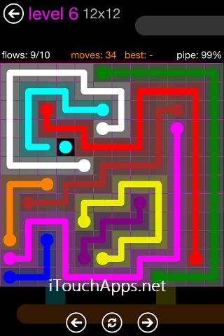 Flow Purple Pack 12 x 12 Level 6 Solution