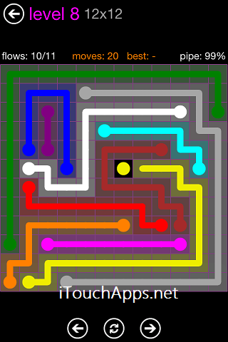 Flow Purple Pack 12 x 12 Level 8 Solution