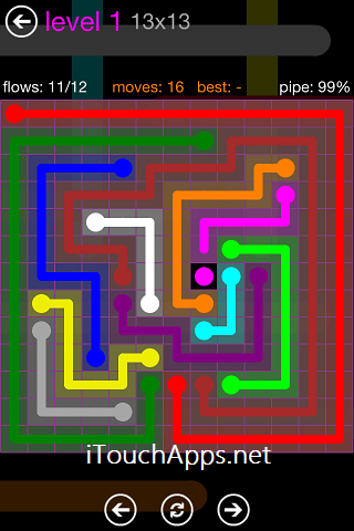 Flow Purple Pack 13 x 13 Level 1 Solution