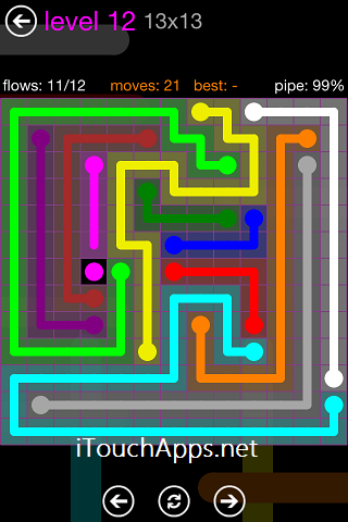 Flow Purple Pack 13 x 13 Level 12 Solution