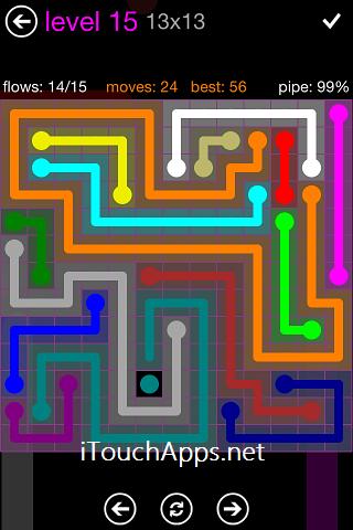 Flow Purple Pack 13 x 13 Level 15 Solution
