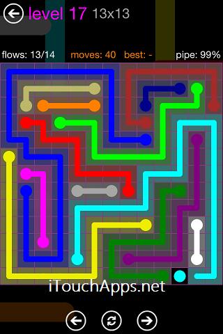 Flow Purple Pack 13 x 13 Level 17 Solution