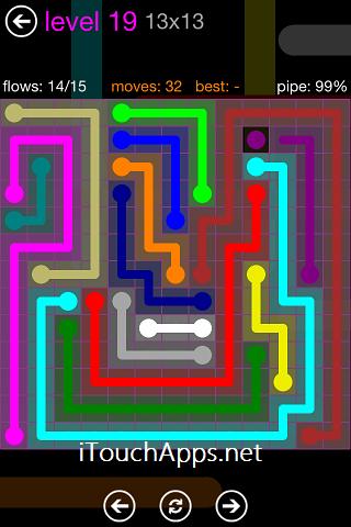 Flow Purple Pack 13 x 13 Level 19 Solution