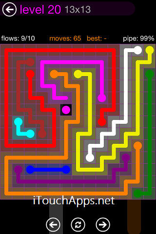 Flow Purple Pack 13 x 13 Level 20 Solution