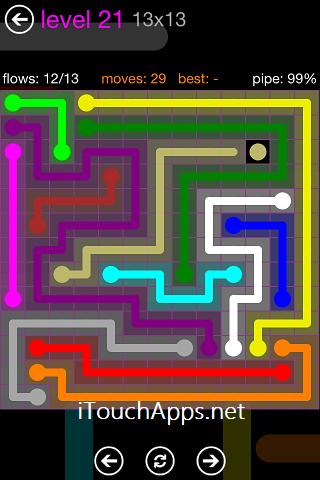 Flow Purple Pack 13 x 13 Level 21 Solution
