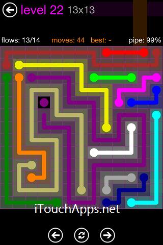 Flow Purple Pack 13 x 13 Level 22 Solution
