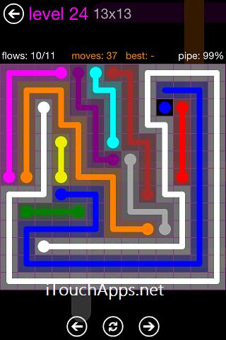 Flow Purple Pack 13 x 13 Level 24 Solution