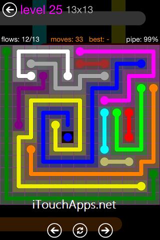 Flow Purple Pack 13 x 13 Level 25 Solution