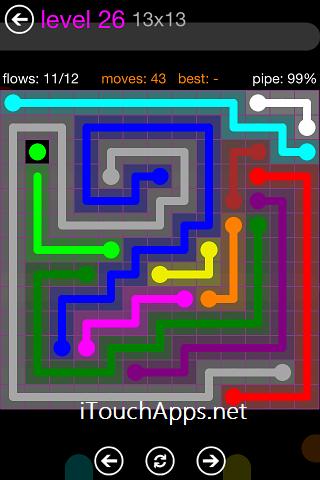 Flow Purple Pack 13 x 13 Level 26 Solution