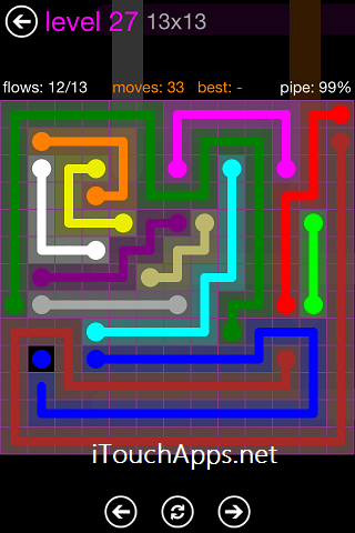 Flow Purple Pack 13 x 13 Level 27 Solution
