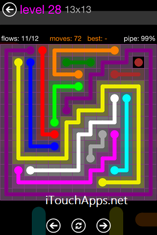 Flow Purple Pack 13 x 13 Level 28 Solution