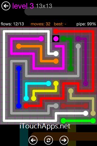 Flow Purple Pack 13 x 13 Level 3 Solution