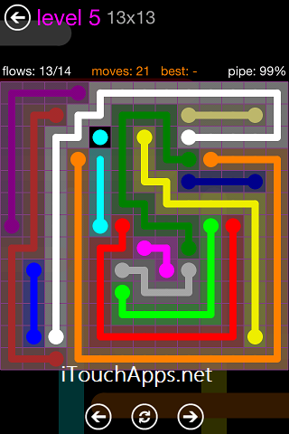 Flow Purple Pack 13 x 13 Level 5 Solution