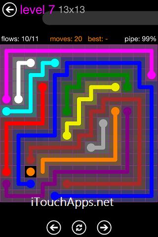 Flow Purple Pack 13 x 13 Level 7 Solution