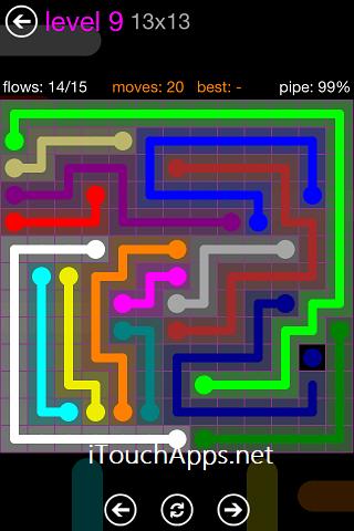 Flow Purple Pack 13 x 13 Level 9 Solution