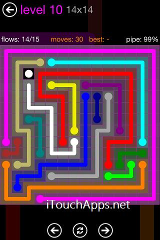 Flow Purple Pack 14 x 14 Level 10 Solution