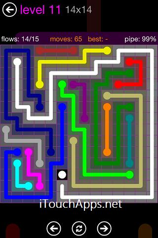Flow Purple Pack 14 x 14 Level 11 Solution