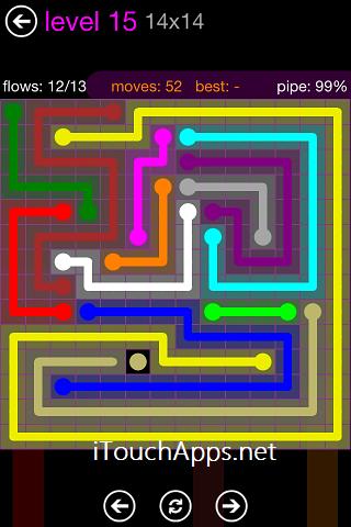Flow Purple Pack 14 x 14 Level 15 Solution