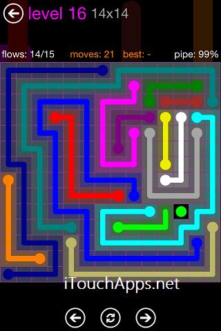 Flow Purple Pack 14 x 14 Level 16 Solution