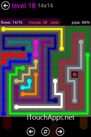 Flow Purple Pack 14 x 14 Level 18 Solution